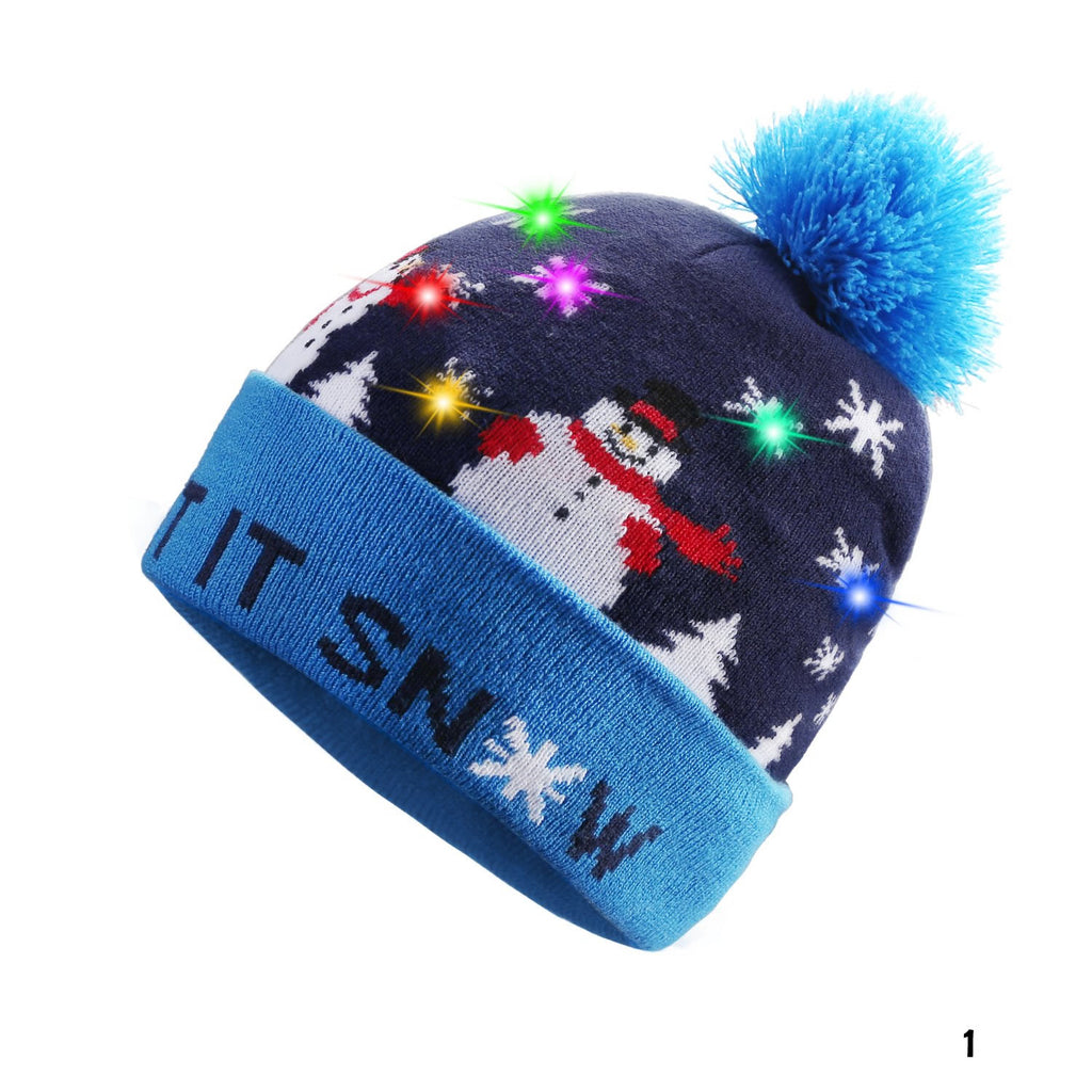 Pom Pom Party Holiday Hats With LED Lights