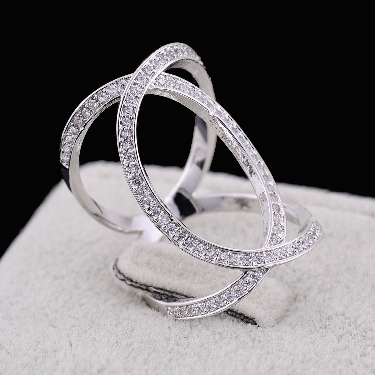 shopify-XOXO Diamond Crystal Rings In Rose Gold And Silver Tones-1