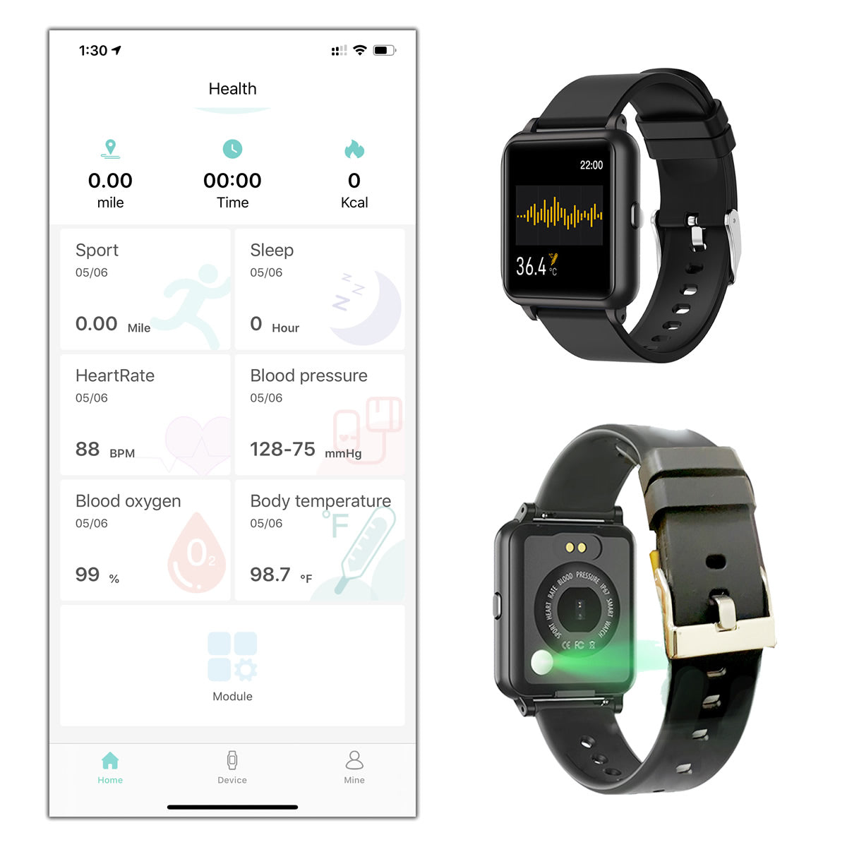 shopify-OXITEMP Smart Watch With Live Oximeter, Thermometer And Pulse Monitor With Activity Tracker-2