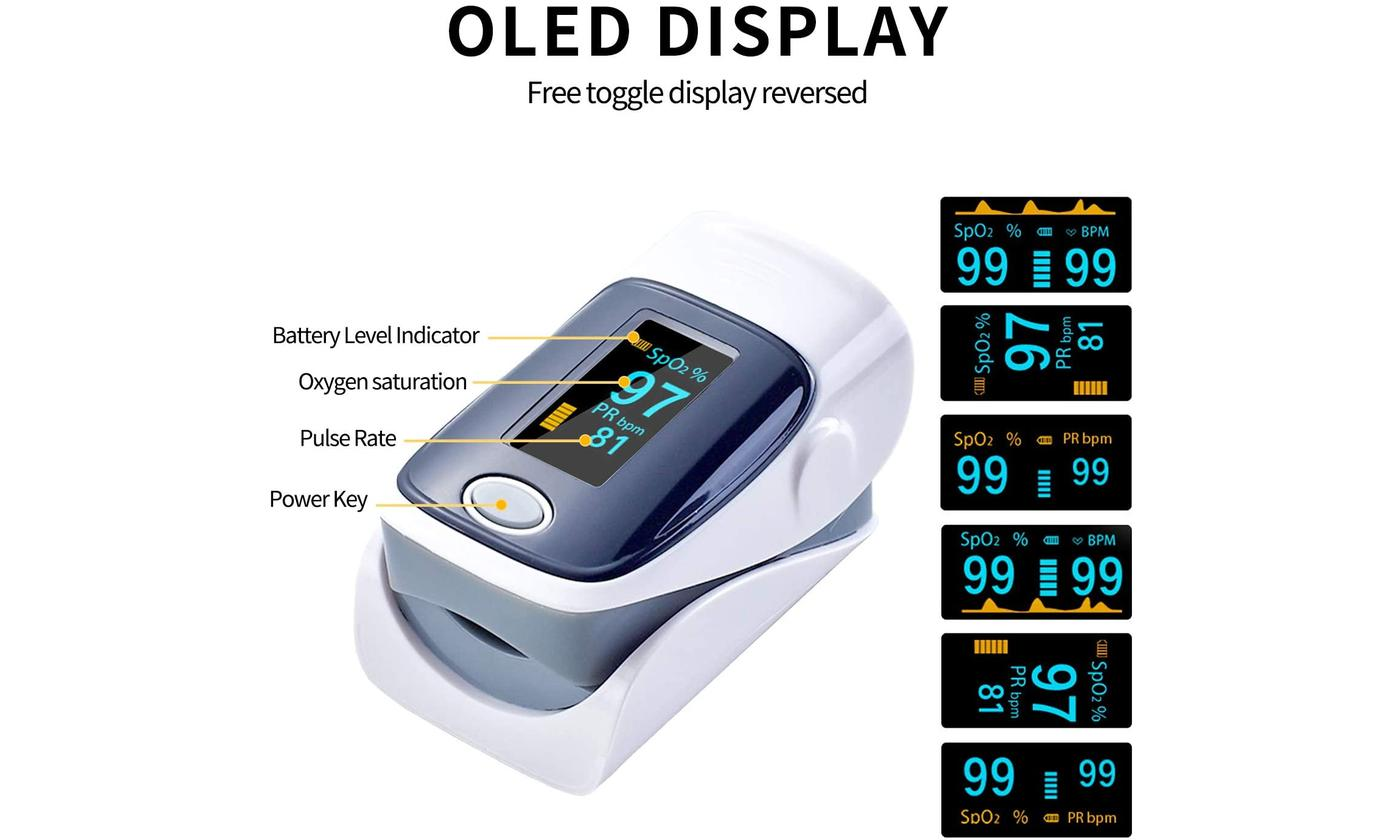 shopify-Fingertip Pulse Oximeter And Blood Oxygen Saturation Monitor With LED Display-8