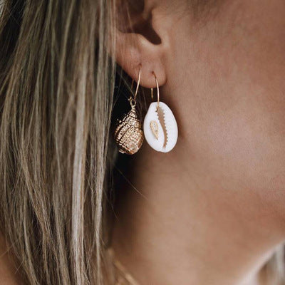 Conch And Cowrie Hoop Earrings