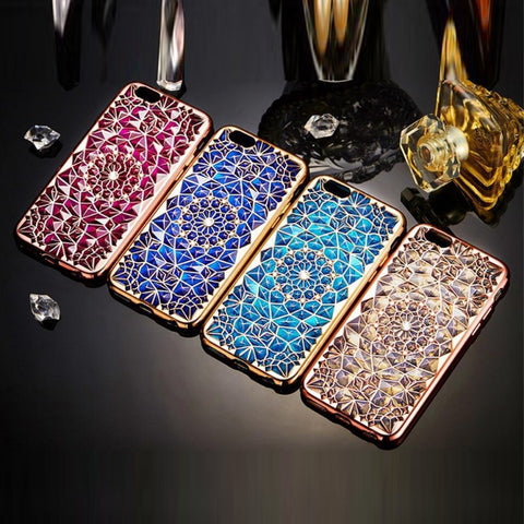 Rich Lady Diamonds And Sunflower Case For iPhone 6 And 6 Plus