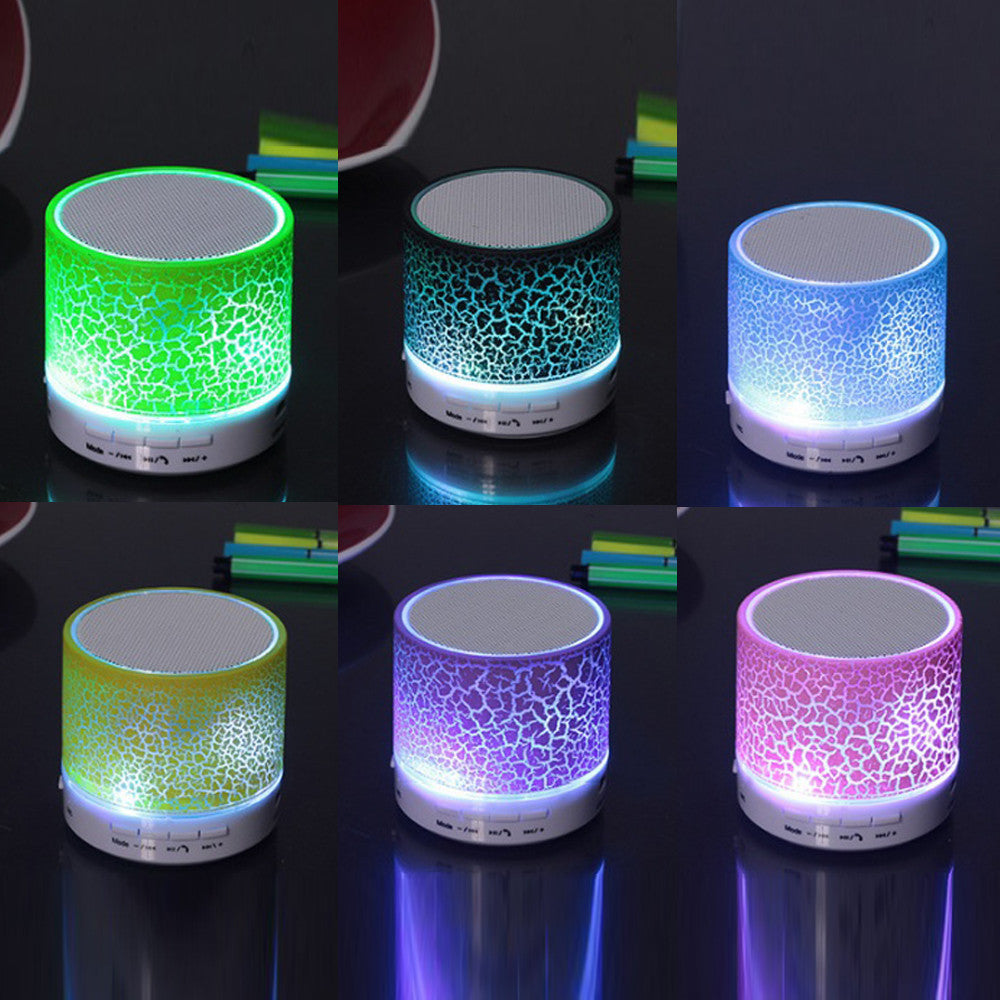 shopify-Crackle Wax Look Design Bluetooth Speaker and LED light-2