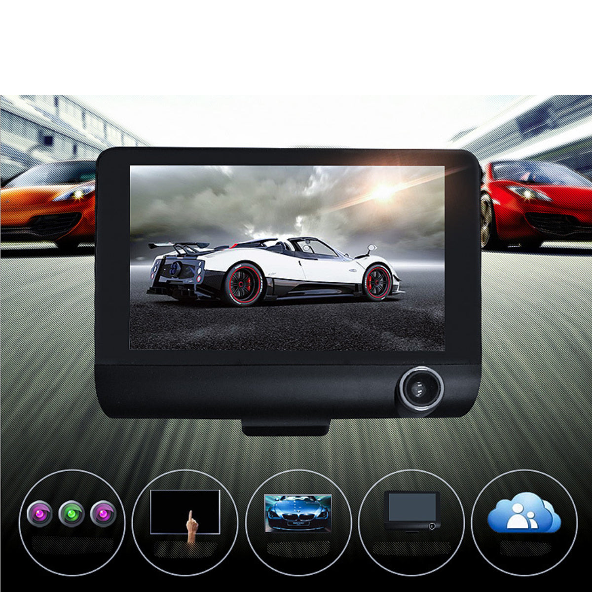 shopify-Safe Drive Dual Camera Car Dash Cam With Large Screen-1