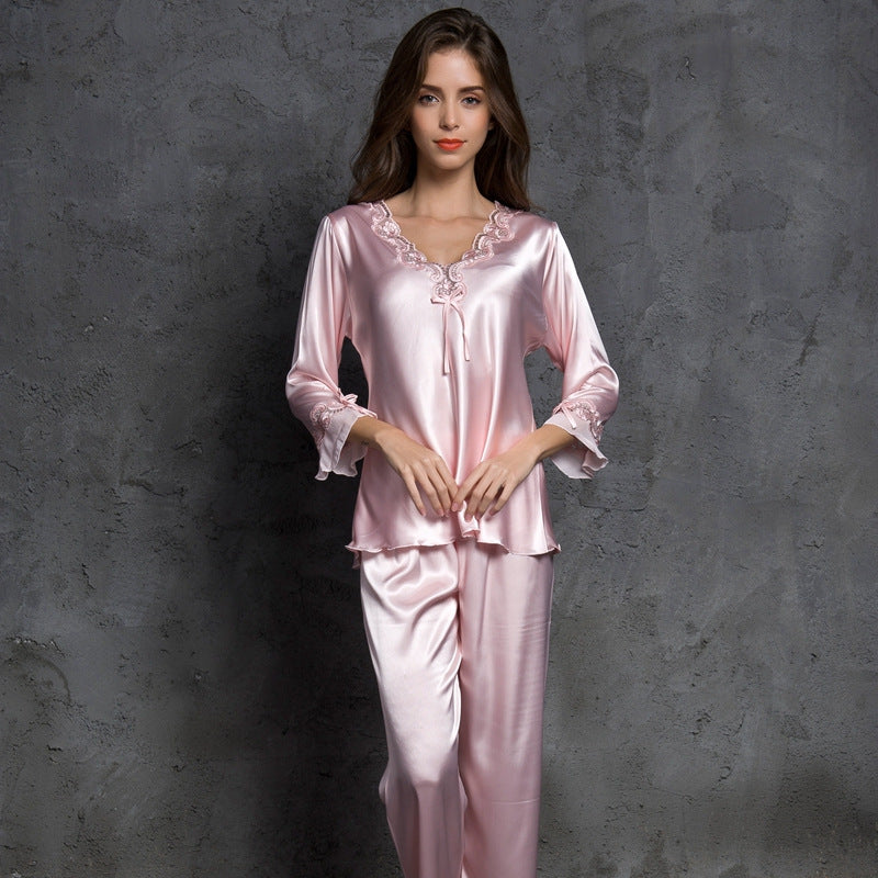 shopify-Satin Rose Silky Pajama Set-1