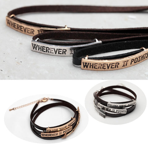 Follow Your Arrow Genuine Leather Bracelet In Yellow And White Gold Plating