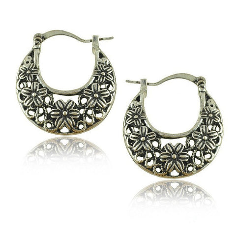 Silver Tribal look Filigree Hoop Earrings For World Traveller