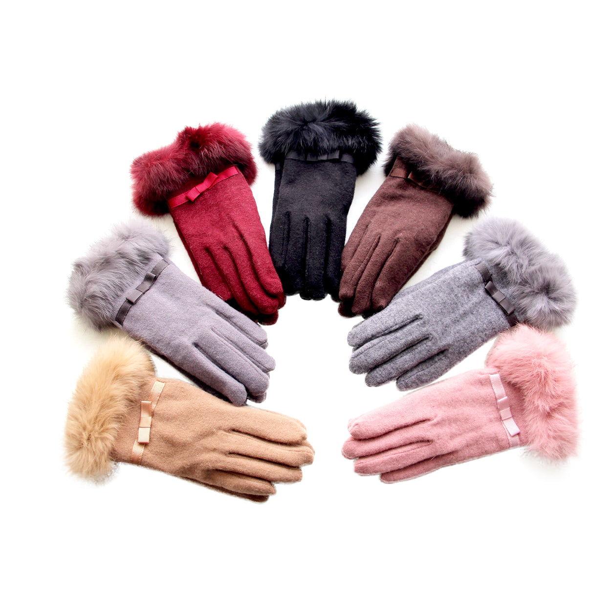 shopify-Kitten Mittens Faux Fur Lining Touch Smart Gloves-1