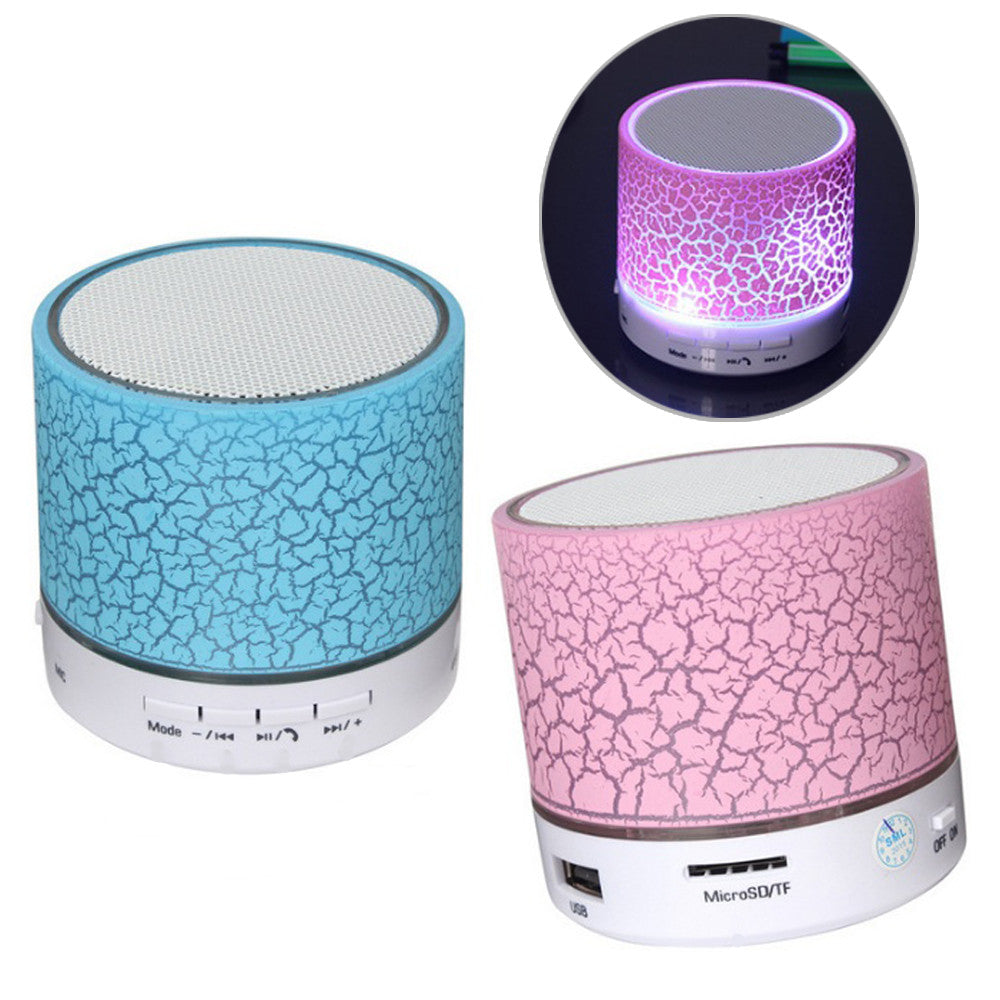 shopify-Crackle Wax Look Design Bluetooth Speaker and LED light-3
