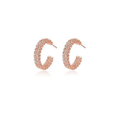Love At First Sight 18 Kt Gold Plated 925 Sterling Silver Polished And Rose Gold Plated Cross Link Cable Earrings