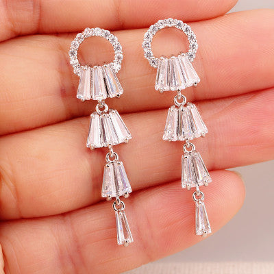 Kayli Chandelier Earrings With Slender Crystal Baguettes