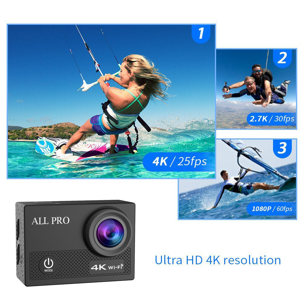 shopify-4K Action Pro Waterproof All Digital UHD WiFi Camera + RF Remote And Accessories-9