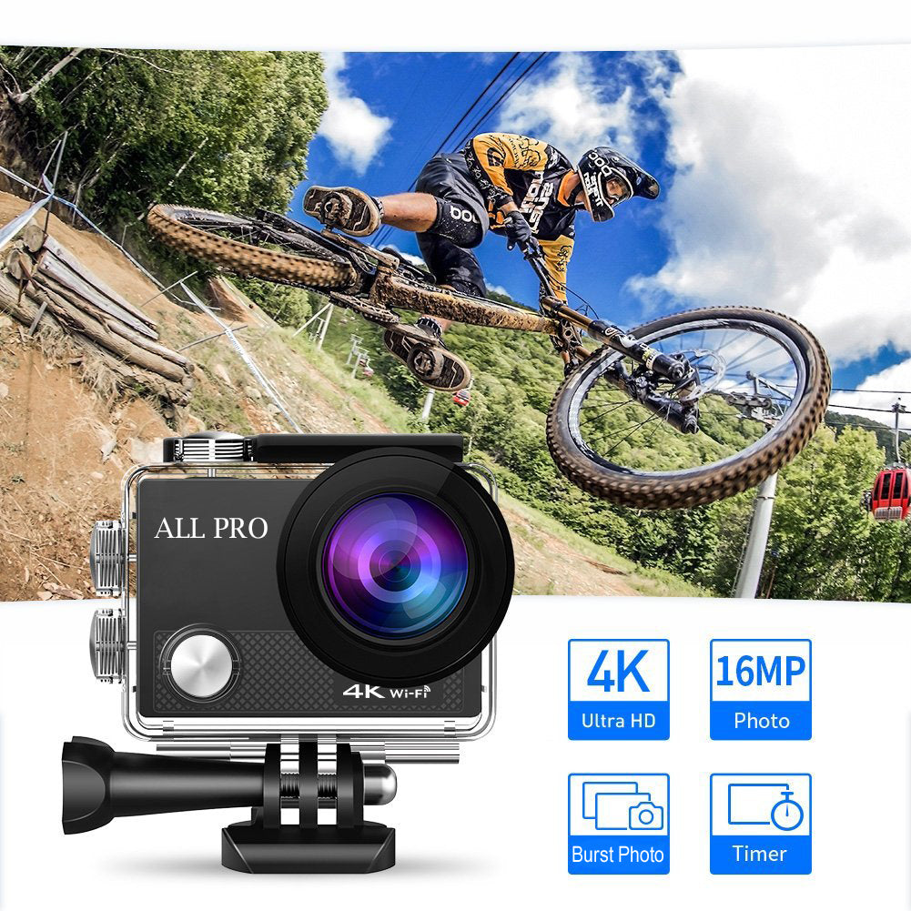 shopify-4K Action Pro Waterproof All Digital UHD WiFi Camera + RF Remote And Accessories-1
