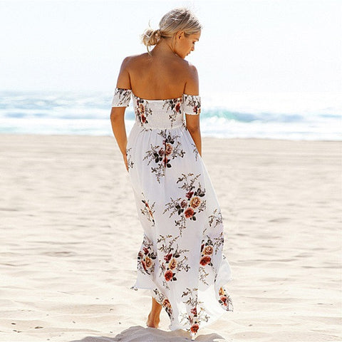 Resort Maxi Floral Open Front Off Shoulder Design