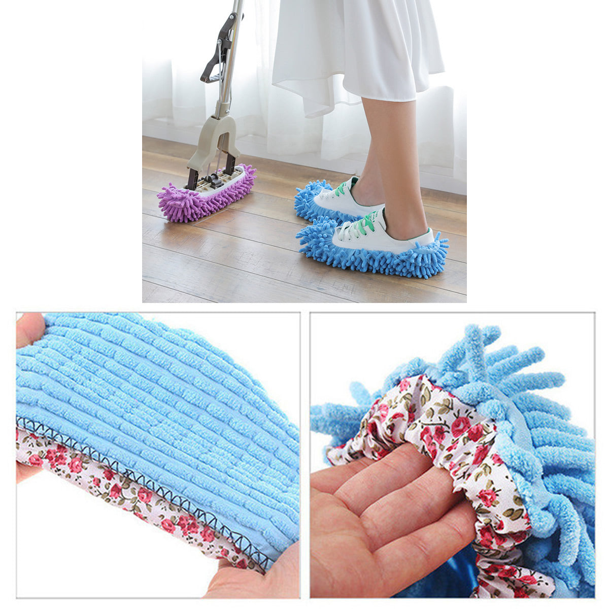 shopify-Lazy Maid Quick Mop Slip-On Slippers 3 prs / 6 pcs-6
