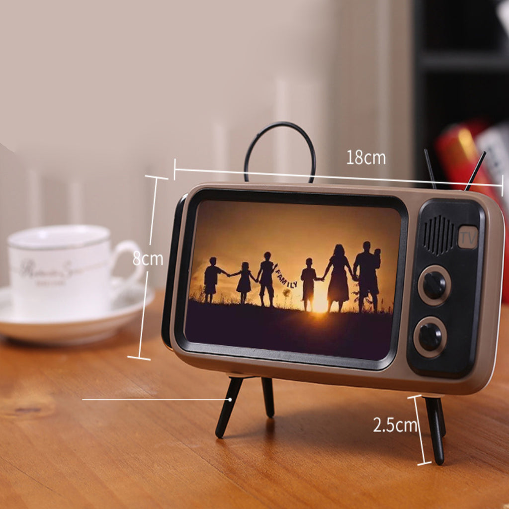 Retro TV Style Phone Stand With Bluetooth Speaker Amplifier
