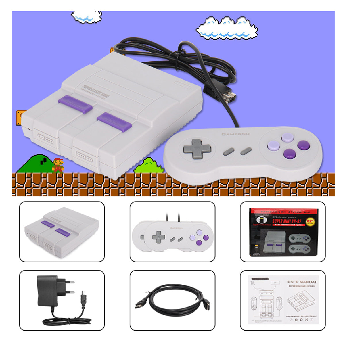 shopify-Retro Inspired Game Console With HDMI + 821 Games Loaded-4