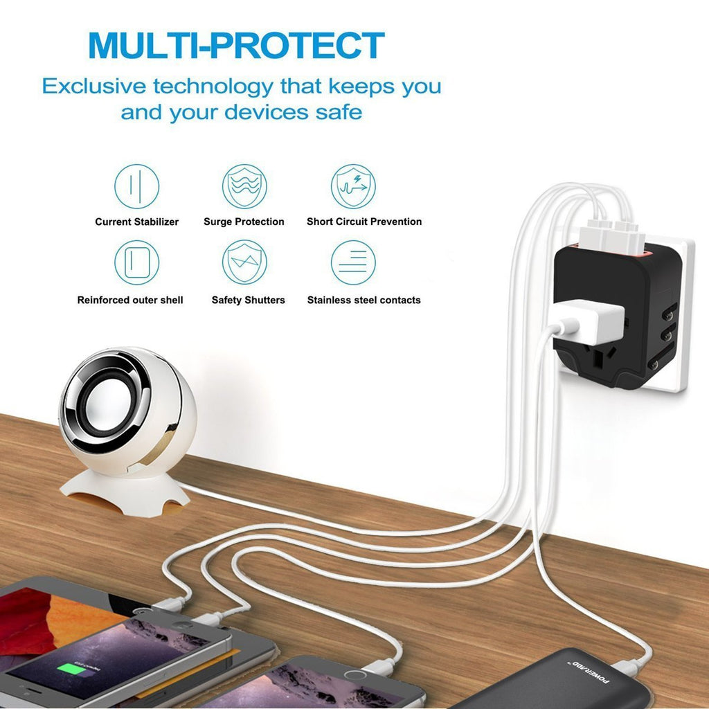 Worldwide Plug Adapter With 4 Port USB Fast Charger And A Surge Protector