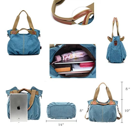Canvas Satchel Handbag with Free RFID Case in 7 Colors