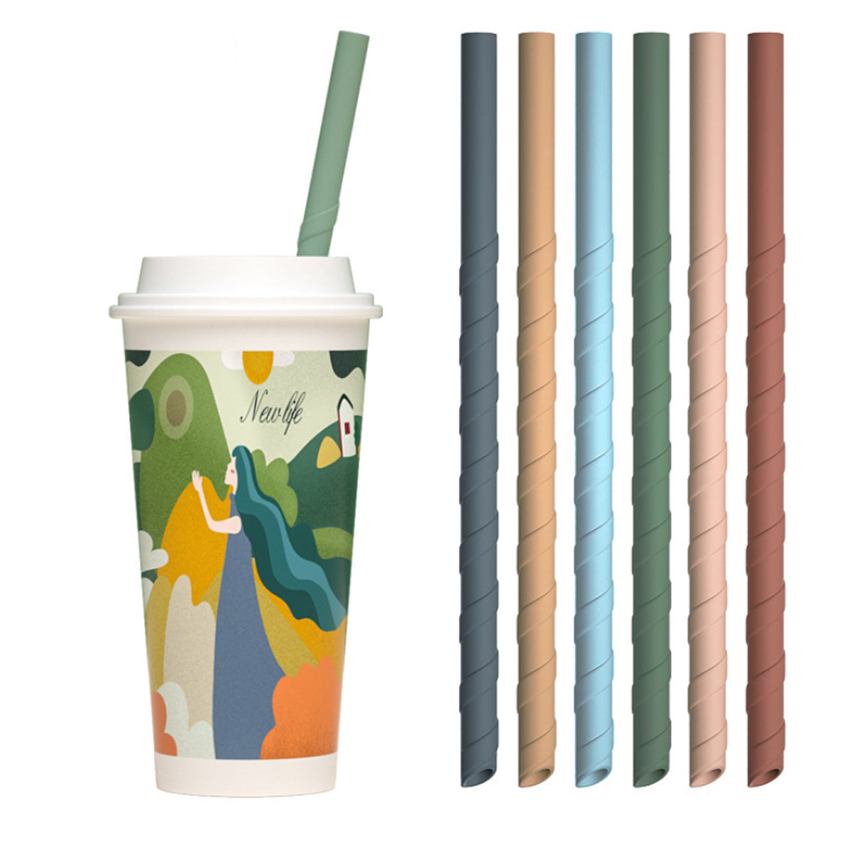 shopify-Eco Safe 8 In 1 Silicon Reusable Straws For HOT/COLD Drinks-1