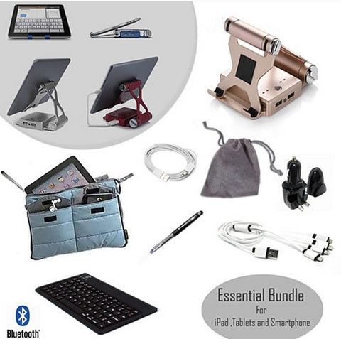 8 Pc Ultimate Essential Bundle Pack For Podium Style iPad Stand and Charger - VistaShops - 1