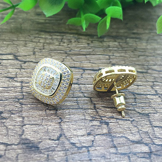 shopify-Fair And Square Earrings Studs Set In Pave Setting-2