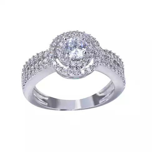 ARTDECO Double Halo Ring 18Kt White Gold Overlay - VistaShops - 1