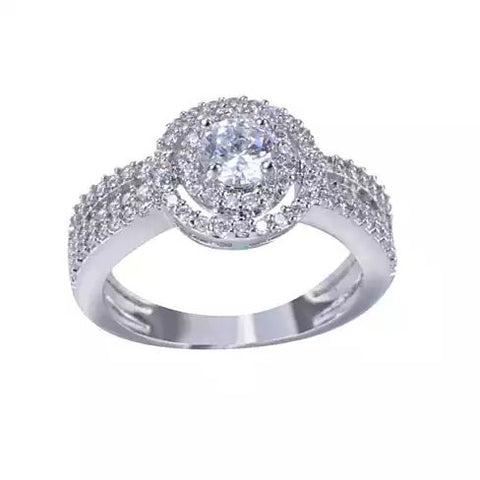 ARTDECO Double Halo Ring 18Kt White Gold Overlay
