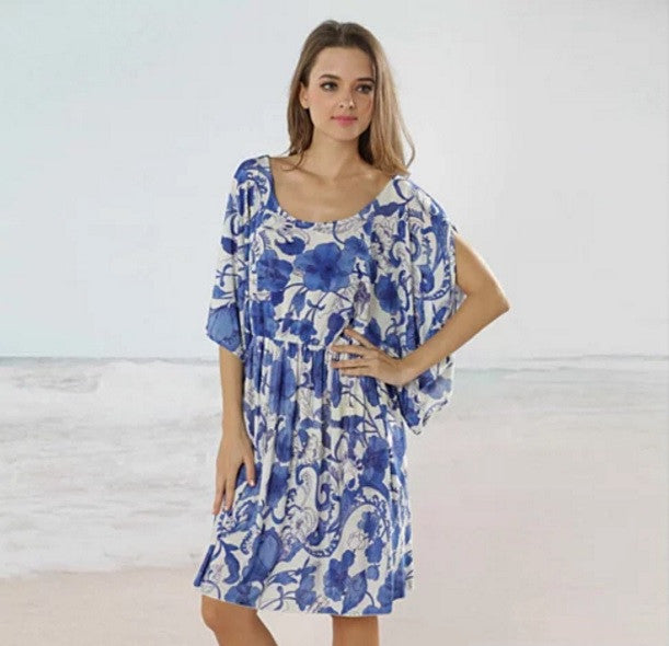 BAJA BLISS Resort Tunic In Blue Flowers - VistaShops - 2