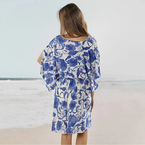 BAJA BLISS Resort Tunic In Blue Flowers - VistaShops - 3