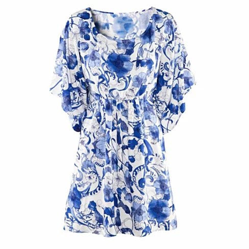BAJA BLISS Resort Tunic In Blue Flowers - VistaShops - 4