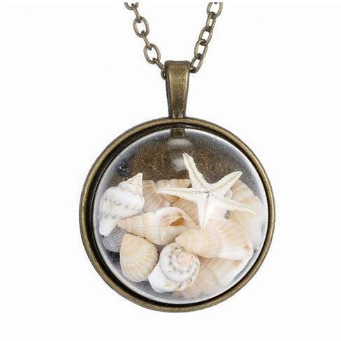 BEACH GIRL Sea Shells In Glass Locket Pendant Necklace - VistaShops - 1