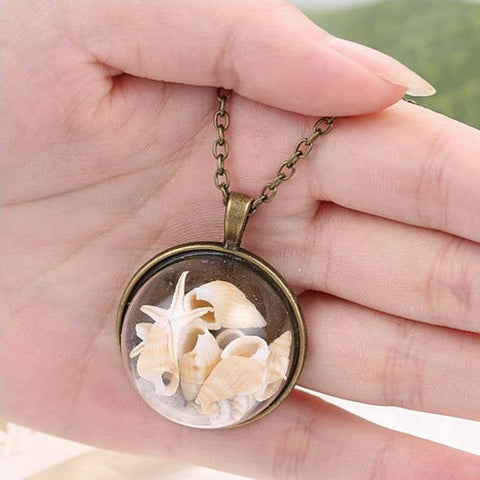 BEACH GIRL Sea Shells In Glass Locket Pendant Necklace - VistaShops - 3