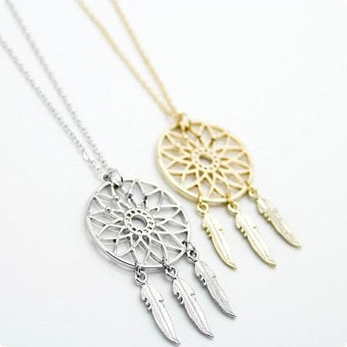 BELIEVE The Dream Catcher Necklaces In Yellow And White Gold Plating - VistaShops - 1