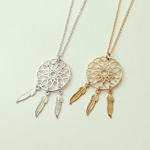 BELIEVE The Dream Catcher Necklaces In Yellow And White Gold Plating - VistaShops - 2