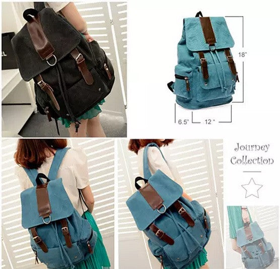 shopify-Back to Campus Canvas Backpack - 4 Colors!-5