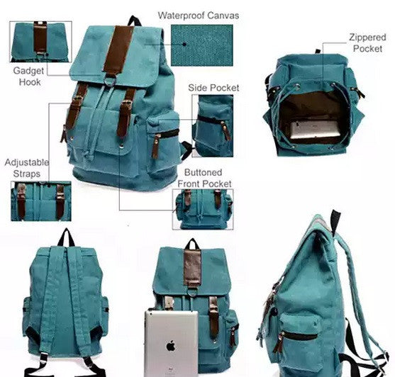 shopify-Back to Campus Canvas Backpack - 4 Colors!-6