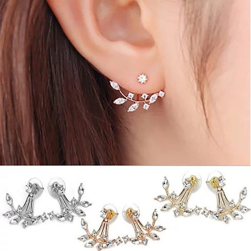 Diamond Blooms Stud Jackets Earrings In Gold Rose Gold And Silver Platings - VistaShops - 1