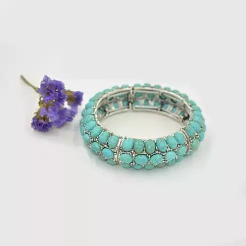 Blue Bella The Turquoise Sophistication Stretch Bracelet - VistaShops