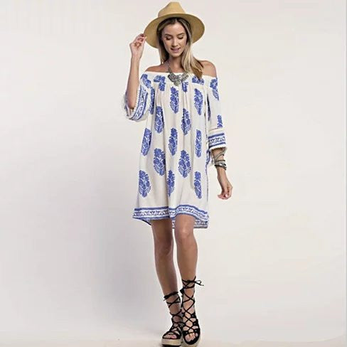 CALI LIFE Summer Off-Shoulder Tunic Dress - VistaShops - 1