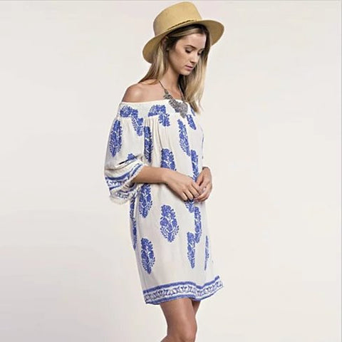 CALI LIFE Summer Off-Shoulder Tunic Dress - VistaShops - 2