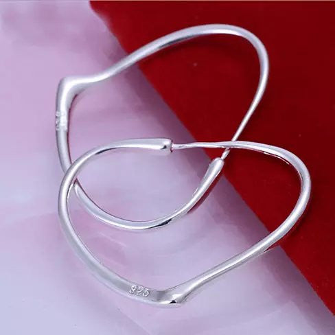 CRAZY LOVE Sterling Silver Heart Hoop Earrings - VistaShops