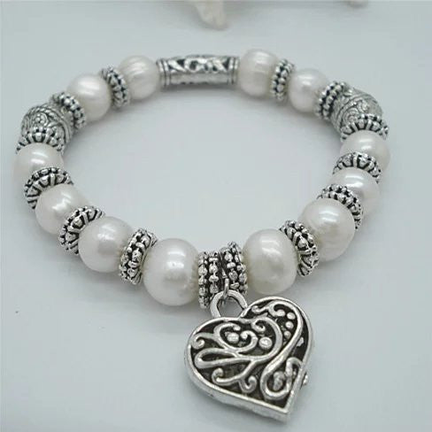 Charming Heart Pearl And Silver Bracelet - VistaShops - 1