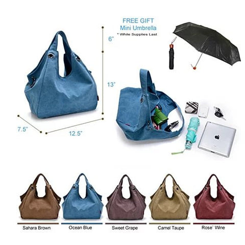 Discovery Journey Canvas Shoulder Bag with FREE Mini Umbrella - VistaShops - 5