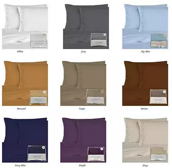 Embroidered Microfiber 4 pc Sheet Set 2000 TC - VistaShops - 4