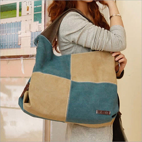 Fair and Square Two Tone Journey Canvas Shoulder Bag - VistaShops - 4