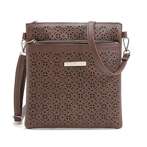 Classic Square Crossbody Bag with Floral Cutout Accent