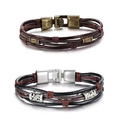 Gemini Twin Bracelets in Genuine Leather and Antique Metal Finish - VistaShops - 1