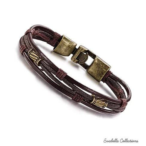 Gemini Twin Bracelets in Genuine Leather and Antique Metal Finish - VistaShops - 4
