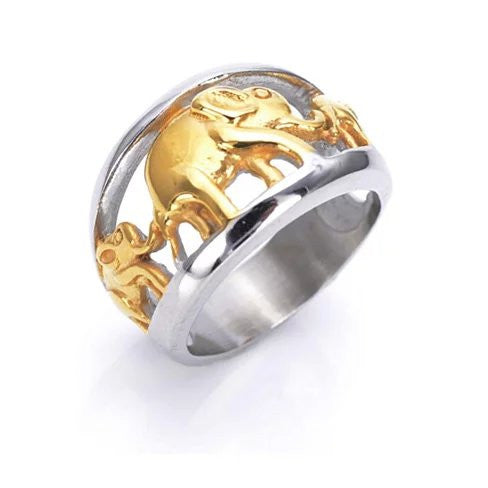 Golden Elephants Ring From TRUNK SHOW Collection - VistaShops - 1